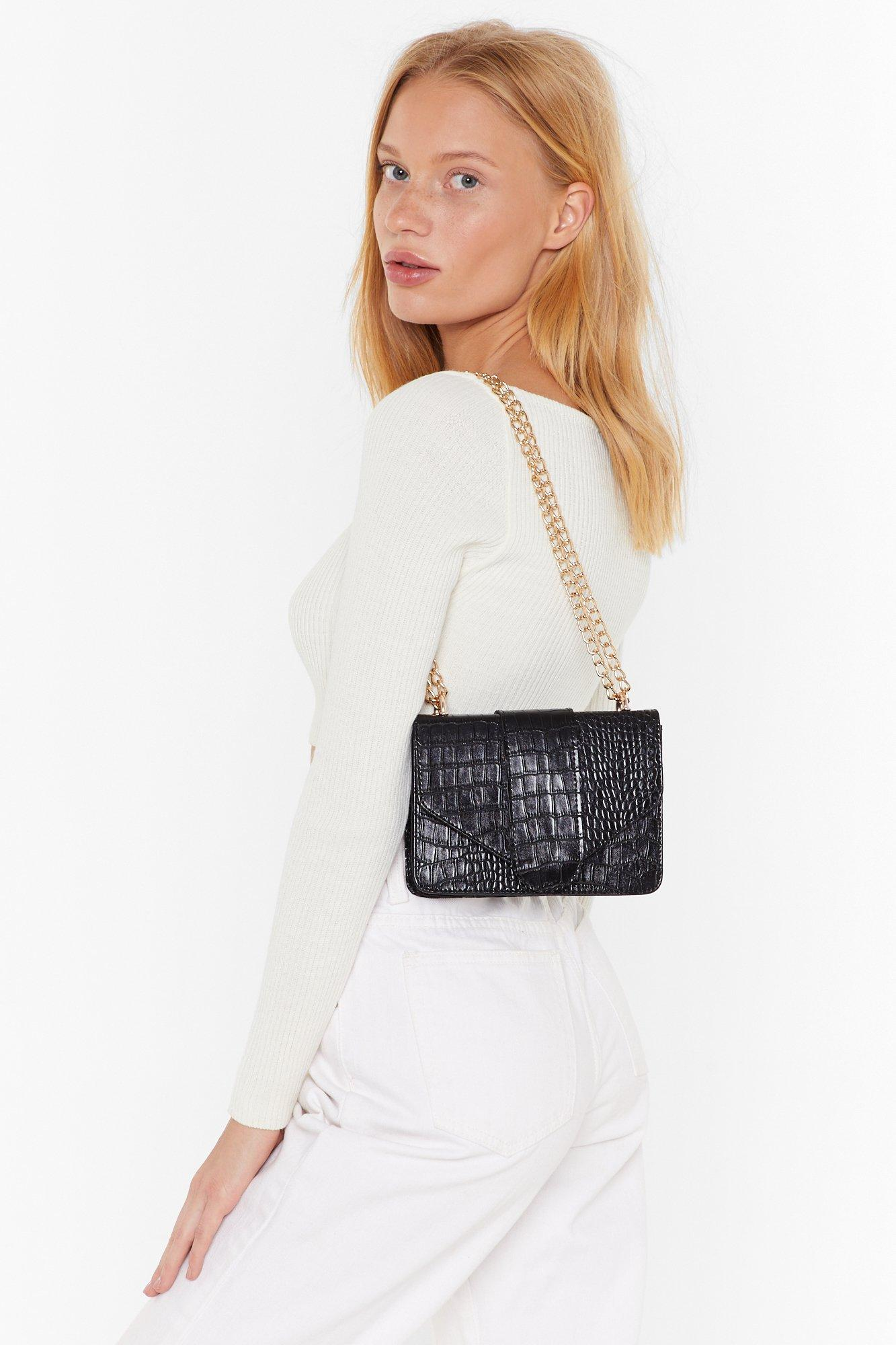 Want In The Shadows Croc Shoulder Bag by Nasty Gal