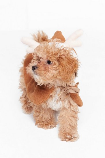 Womens Brown Santa's Little Helper Reindeer Dog Cape