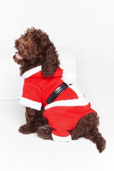 Womens Red Santa Paws Dog Costume
