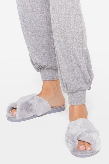 Womens Grey Not Ready Fur Today Faux Fur Slippers
