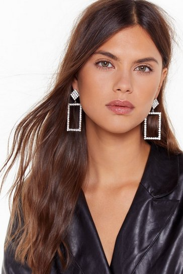 Womens Silver Tell Us Every Bling Diamante Drop Earrings