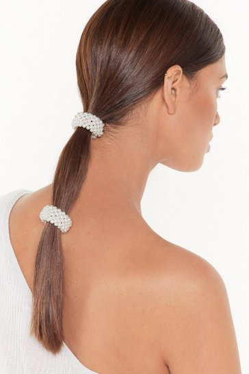 Womens White Every Pearl Like Me Hair Tie Set