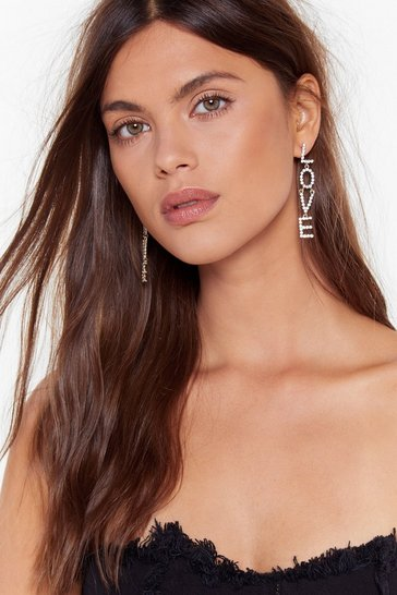 Womens Silver We Kinda Love Ya Diamante Drop Earrings