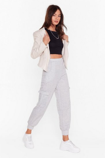 Grey marl Pocket to 'Em High-Waisted Cuffed Joggers