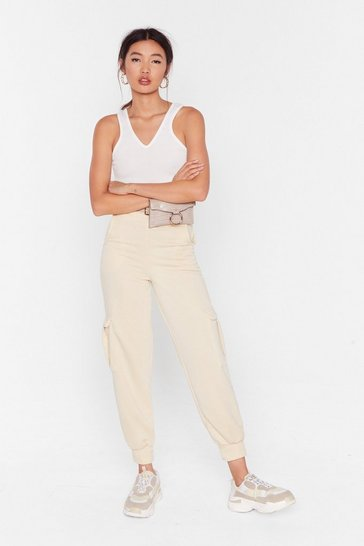 Womens Sand Pocket to 'Em High-Waisted Cuffed Joggers