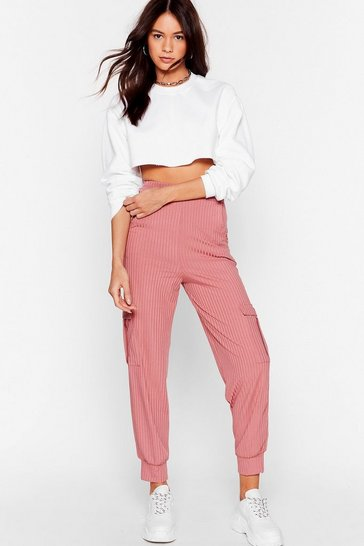 Blush Mornin' Stretch High-Waisted Ribbed Joggers