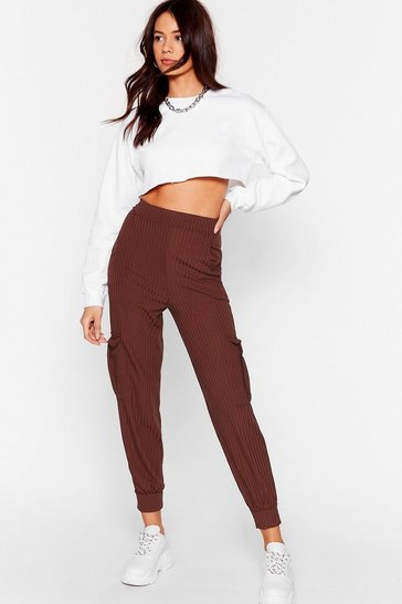 Womens Chocolate Mornin' Stretch High-Waisted Ribbed Joggers