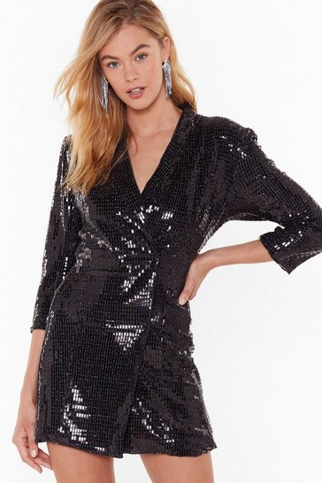 Black Blame It on the Boogie Sequin Blazer Dress