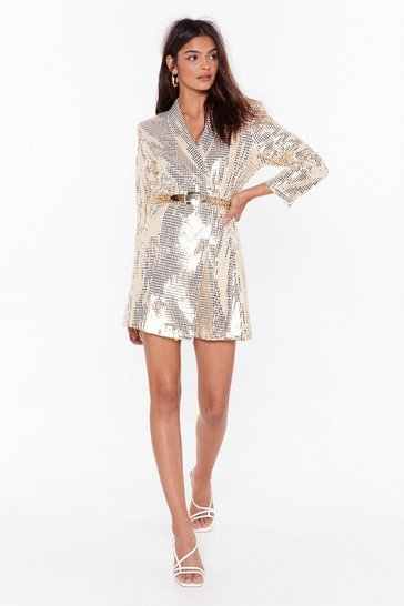 Womens White Blame It on the Boogie Sequin Blazer Dress