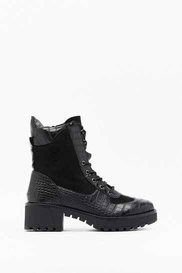Womens Black Croc You Want Faux Leather Hiker Boots