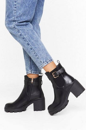 Black Gimme All the Gloss Patent Faux Leather Boots