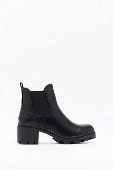 Black Meet Me at the Bar Faux Leather Ankle Boots