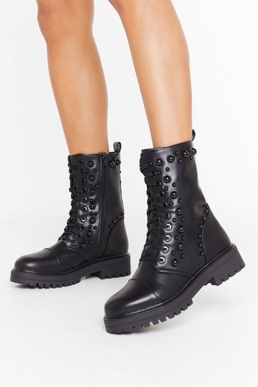 Womens Black Stud Up Lace-Up Biker Boots