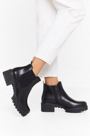Womens Black Watch Your Step Faux Leather Chelsea Boots