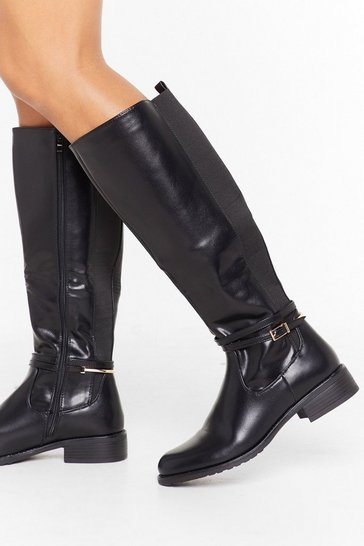 Womens Black Just Ride It Out Faux Leather Knee-High Boots