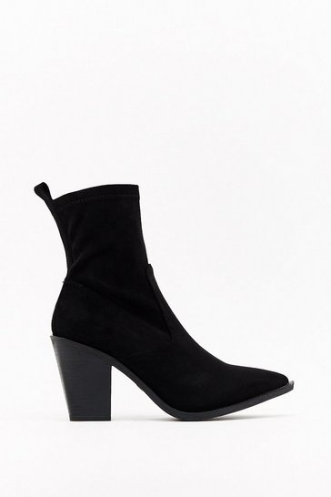 Womens Black Immi suede block heel sock boots