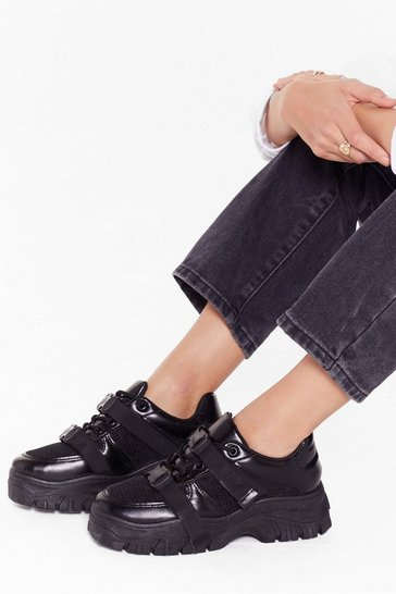 Womens Black Chunky double strap sneakers