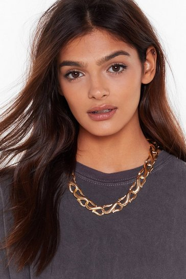 Womens Gold Chain Down On Me Rope Necklace