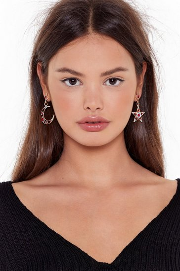 Womens Red Headin' For the Moon Diamante Drop Earrings