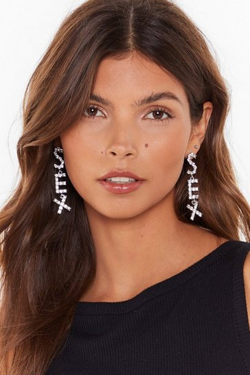 Womens Silver Sex diamante earrings