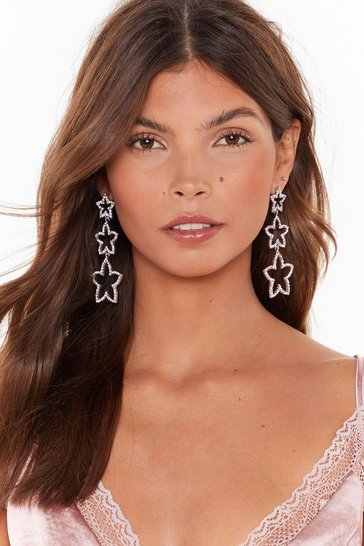 Womens Silver She's a Star Diamante Drop Earrings
