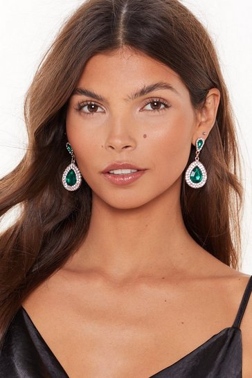 Womens Green Emerald stone drop earrings