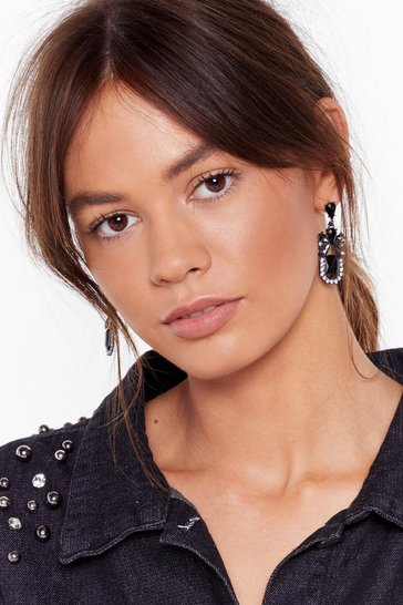 Womens Black Hanging On Your Every Word Embellished Drop Earrings
