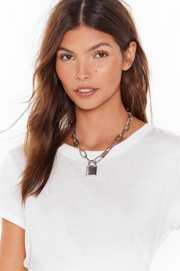 Womens Silver Take a Lock Chunky Padlock Necklace