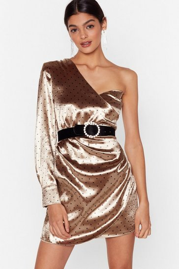 Womens Gold One Spot is All It Takes Satin Mini Dress