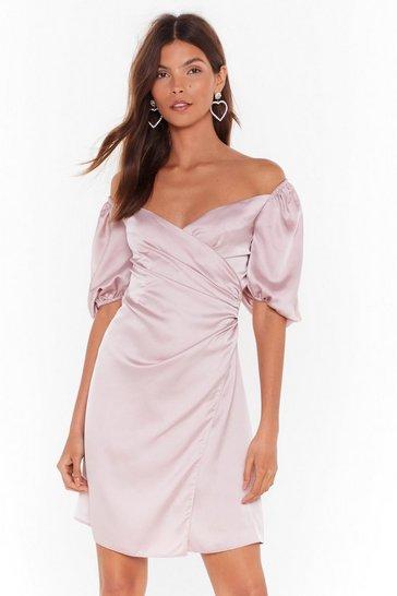 Blush Heartbreak Waitin' to Satin Off-the-Shoulder Dress
