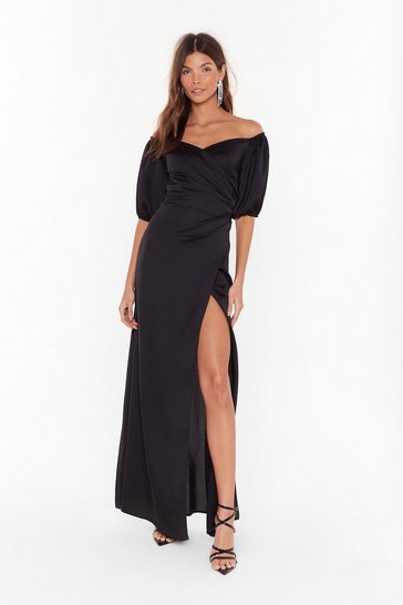 Womens Black Break It Off-the-Shoulder Satin Maxi Dress