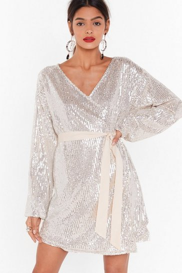 Womens Champagne Born to Sequin Wrap Mini Dress