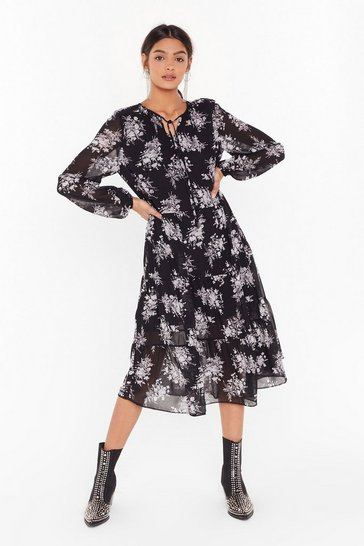 Womens Black Let the Grow Begin Floral Midi Dress