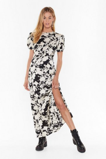 Black Hey Bud Floral Satin Dress