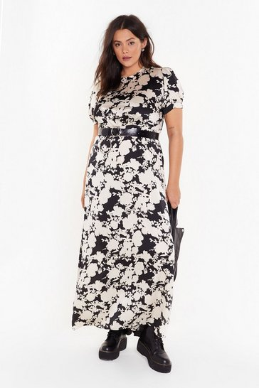 Womens Black Hey Bud Plus Floral Satin Dress