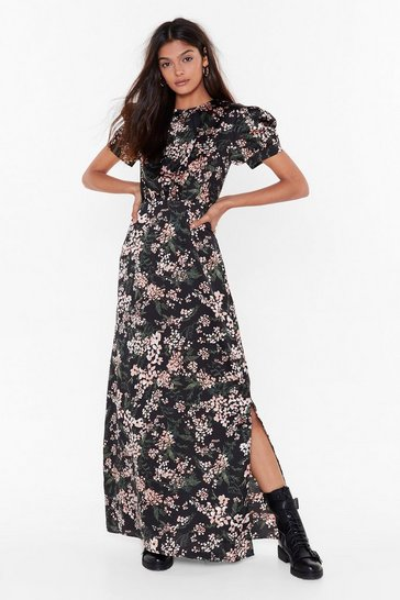 Black Nothin' Bud a Good Time Satin Maxi Dress