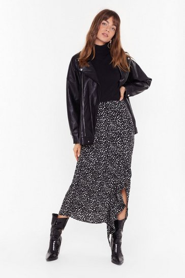 Womens Black printed ruffle front maxi skirt