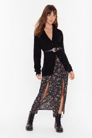 Black Flower About Never Floral Midi Skirt