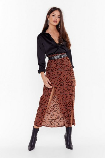 Womens Rust Wild Wild Youth Animal Print Midi Skirt