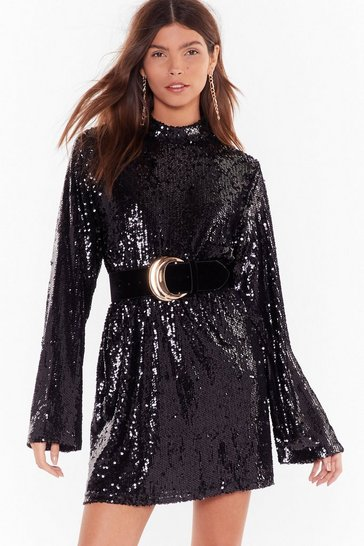 Black Get the Party Started Sequin Mini Dress