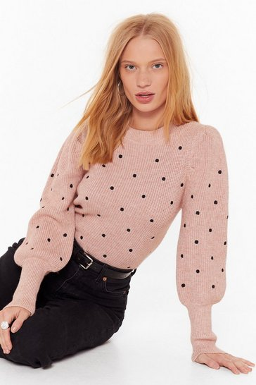 Womens Pink Knit's Gettin' Dot in Here Relaxed Sweater