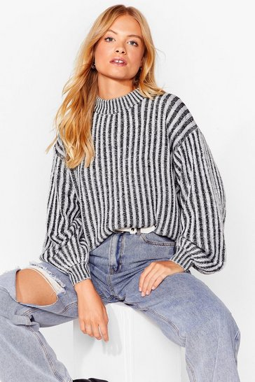 Black  contrast rib knit balloon sleeve jumper