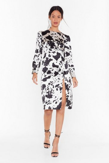 Womens White Cow You Doin' Relaxed Midi Dress