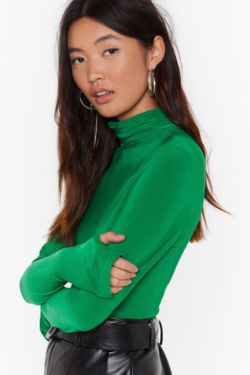 Womens Green High Maintenance Turtleneck Slinky Top