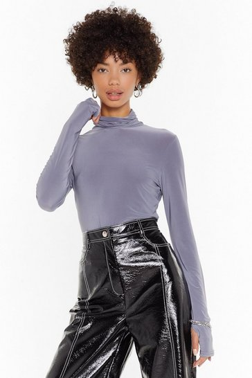 Womens Charcoal High Maintenance Turtleneck Slinky Top