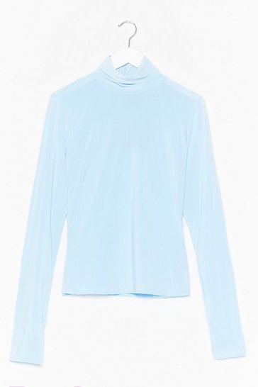 Pale blue High Maintenance Turtleneck Slinky Top