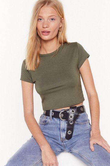 Khaki Crop of the List Crew Neck Crop Top