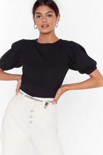 Black Arms Wide Open Puff Sleeve Ribbed Top