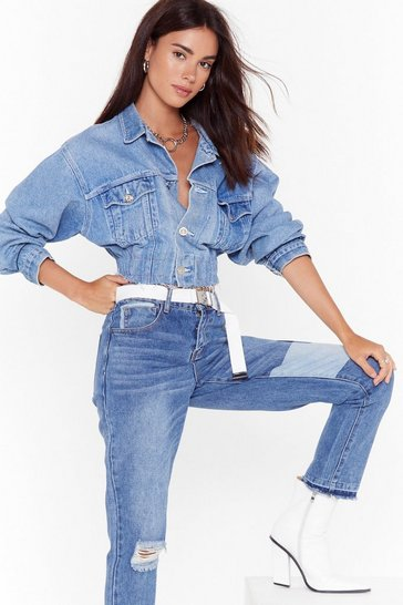 Womens Blue Patch Things Up Distressed Mom Jeans