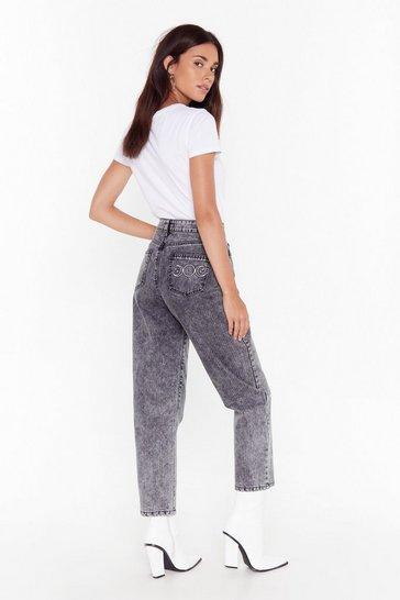 Black Be Back Moon Embroided Mom Jeans